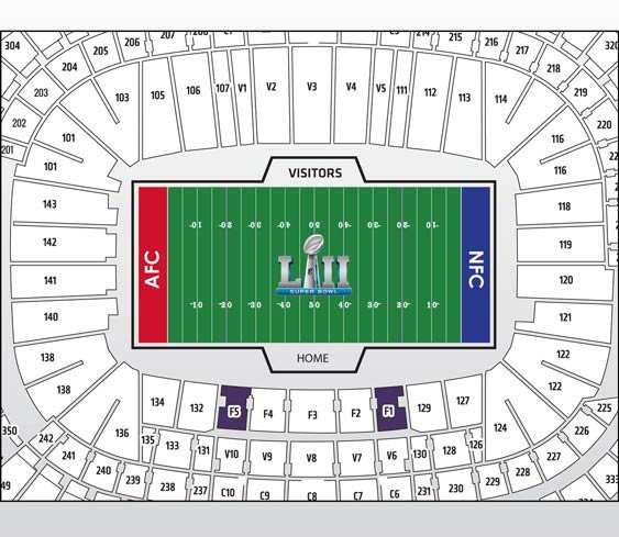 Super Bowl Platinum Package Seatmap