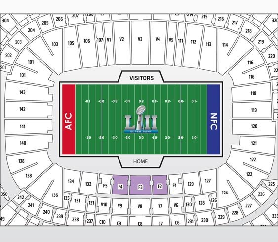 Super Bowl Platinum Plus Package Seatmap