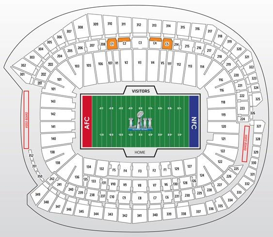 Super Bowl Gold Package Seatmap