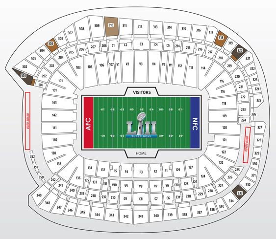 Super Bowl Bronze Package Seatmap