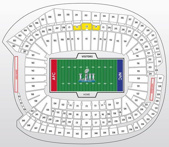 Super Bowl Gold Plus Package Seatmap